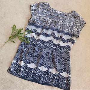 CAbi Chantilly Silk Cream & Blue Lace Blouse